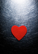 Stainless Steel Framed Prints - Red Felt Heart On Stainless Steel Background. Framed Print by Ballyscanlon