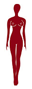 Popart Drawings Prints - Red Female Silhouette Print by Frank Tschakert