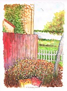 Vineyard Art Painting Posters - Red-fence-Lompoc-California Poster by Carlos G Groppa