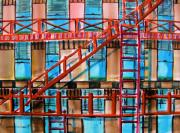 Escape Drawings Metal Prints - Red Fire Escape Metal Print by John  Williams
