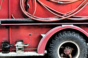 Fire Framed Prints - Red Fire Truck 3 Framed Print by Peter  McIntosh