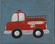 Rescue Framed Prints - Red Fire Truck Nursery Art Framed Print by Katie Carlsruh