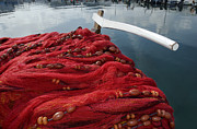 Deeds Posters - Red Fishing Nets Poster by Vassilis Triantafyllidis