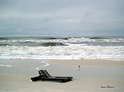 Lounge Photo Originals - Red Flag Day at the Beach by Karen Devonne Douglas