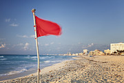Information Prints - Red Flag On Beach In Hotel Zone Print by Bryan Mullennix