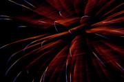 Red Fireworks Framed Prints - Red Flare Framed Print by Jeannie Burleson