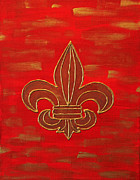 Fleur Di Lis Painting Prints - Red Fleur de Lis Print by Hazel Reidy