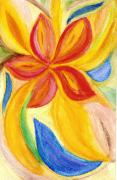 Floral Drawings Originals - Red Flower Chakra by Karla Ricker
