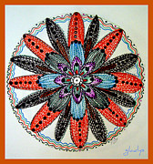 Mandal Drawings Posters - Red flower mandala  Poster by Gladys Childers