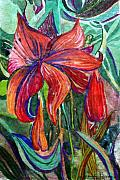 Lily Mixed Media Posters - Red Flower Poster by Mindy Newman