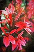 Painted Mixed Media - Red flowers by Angela Doelling AD DESIGN Photo and PhotoArt