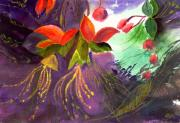 Peaceful Scenery Mixed Media Prints - Red Flowers Print by Anil Nene