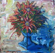 Star Burst Paintings - Red Flowers by Craig Wade