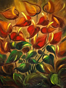 Gina Gray Paintings - Red Flowers by Gina De Gorna
