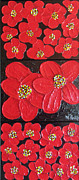 Floral Reliefs Originals - Red flowers by Merlene Pozzi