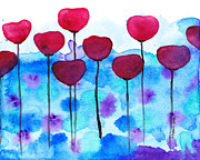Red Flowers Watercolor Painting Print by Karen Pappert