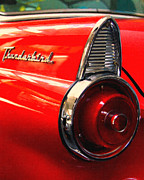 Vintage Hood Ornament Digital Art Metal Prints - Red Ford Thunderbird . Automotive Art Series Metal Print by Wingsdomain Art and Photography