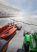 Finish Line Metal Prints - Red Formula One Car Winning A Race Metal Print by Jon Feingersh