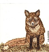 Mammal Pyrography Prints - Red Fox 1 Print by Clarence Butch Martin