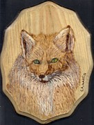Mammal Pyrography Prints - Red Fox 2 Print by Clarence Butch Martin