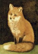 Watercolor  Pyrography - Red Fox Portrait by Cate McCauley