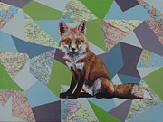 Maps Paintings - Red Fox by Ramey Guerra
