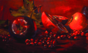 Grapes Art Painting Framed Prints - Red Fruit Framed Print by Penelope Moore
