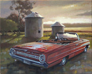 Silos Painting Posters - Red Galaxie Poster by Todd Baxter