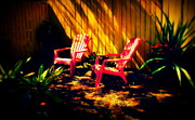 Tropical Photos - Red Garden Chairs by Susanne Van Hulst