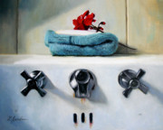 Red Geraniums Painting Posters - Red Geranium and Old Sink Poster by Linda Jacobus