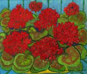 Rural Living Painting Posters - Red Geranium Poster by Anna Folkartanna Maciejewska-Dyba