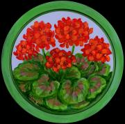 Contemporary American Folk Art Framed Prints - Red Geranium on wood Framed Print by Anna Folkartanna Maciejewska-Dyba