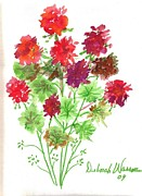 Red Geraniums Painting Posters - Red Geraniums Poster by Debbie Wassmann