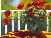 Red Geraniums Prints - Red Geraniums Print by Kimberlee Maselli