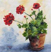 Geranium Paintings - Red Geraniums by Torrie Smiley