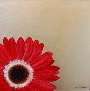 Silver Leaf Paintings - Red Gerbera Daisy on Silver Leaf by Michele Harps