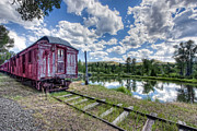 Rail Siding Posters - Red Ghost Town Train - Montana Poster by Daniel Hagerman