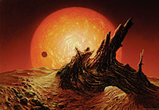 Science Fiction Framed Prints - Red Giant Sun Framed Print by Don Dixon