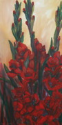 Gladiolus Paintings - Red Glads by Cher Devereaux