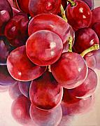 Grapes Art Painting Framed Prints - Red Grape Reflections Framed Print by Toni Grote