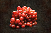 Round Mixed Media Posters - Red Grapes Poster by Andee Photography