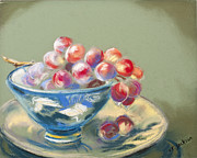 Grapes Pastels - Red Grapes Blue Bowl by Valerie R Jackson