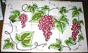 One Of A Kind Ceramics - Red Grapes Ceramic Tile Mural by Dy Witt