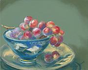 Grapes Pastels - Red Grapes in a Blue Bowl by Valerie R Jackson