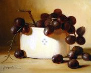 Still Life Prints Paintings - Red Grapes by Linda Jacobus