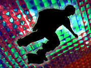Figures Silhouettes Young Sport Grunge Athletes Prints - Red Green and Blue Abstract Boxes Skateboarder Print by Elaine Plesser
