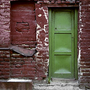 Abandoned Houses Metal Prints - Red green facade. Belgrade. Serbia Metal Print by Juan Carlos Ferro Duque