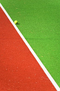 Vibrant Colors Prints - Red Green White Line and Tennis Ball Print by Silvia Ganora