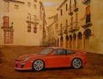Gt3 Prints - Red GT3 Porsche Print by Richard Le Page