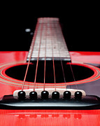 Frets Digital Art Prints - Red Guitar 16 Print by Andee Photography